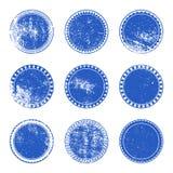 Blauwe Grunge-Zegelreeks Stock Afbeeldingen