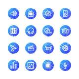 Blauwe grungemedia pictogrammen Stock Foto's