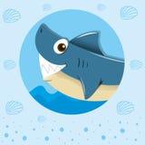 Blauwe haai met gelukkig gezicht Stock Afbeeldingen