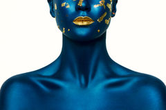 Blauwe Halloween-Make-up stock afbeelding
