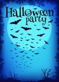 Blauwe Halloween-partijachtergrond met vliegende knuppels Royalty-vrije Stock Foto's