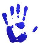 Blauwe hand-druk Stock Foto