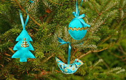 Blauwe hand - gemaakte Kerstmisdecoratie Royalty-vrije Stock Fotografie