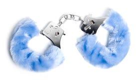 Blauwe handcuffs stock foto's