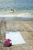 Blauwe handdoek Stock Fotografie