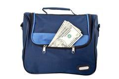 Blauwe handtas met geld Royalty-vrije Stock Afbeeldingen