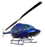 Blauwe helikopter die op witte achtergrond wordt geïsoleerdt royalty-vrije stock foto's