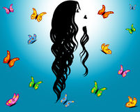 Blauwe hemel, contourmeisje & vlinders Stock Foto