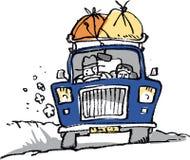 Blauwe hemel en auto stock illustratie