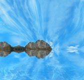 Blauwe hemel en blauwe overzees stock fotografie