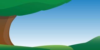 Blauwe Hemel en Grasbeeldverhaalachtergrond Royalty-vrije Stock Afbeeldingen