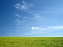 Blauwe hemel en groen gras Stock Afbeelding