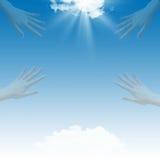 Blauwe hemel en handen vector illustratie