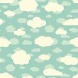 Blauwe hemel en leuk wit wolken naadloos patroon in retro kleuren stock illustratie