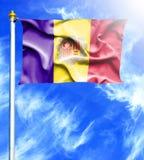 Blauwe hemel en mast met gehangen golvende vlag van Andorra royalty-vrije illustratie