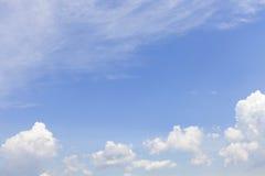 Blauwe hemel en witte wolk in zonnige goede weerdag royalty-vrije stock afbeeldingen