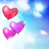Blauwe hemel met ballons Stock Fotografie