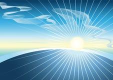 Blauwe hemel met de glanzende zon Royalty-vrije Stock Afbeelding