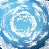Blauwe hemel met spiraalvormige wolken stock illustratie