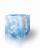 Blauwe hemel met vraagteken en uitroepteken Royalty-vrije Stock Foto