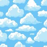 Blauwe hemel met witte wolken Hand getrokken naadloos patroon Vectorillustratie in beeldverhaalstijl stock illustratie