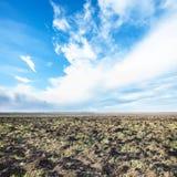 Blauwe hemel met witte wolken over fileld in de lente Royalty-vrije Stock Afbeeldingen