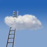 Blauwe hemel met wolk en ladder stock foto's