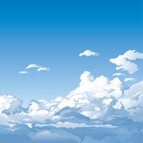 Blauwe hemel met wolken vector illustratie