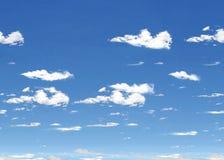 Blauwe Hemel met Wolken Horizontale Tegel Stock Afbeelding