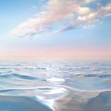 Blauwe hemel met wolken op het overzees Stock Foto's