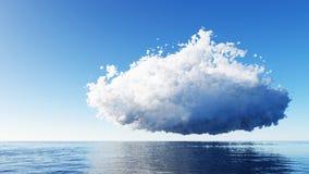 Blauwe hemel met wolken over overzeese 3D remder Stock Afbeeldingen