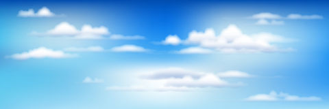 Blauwe Hemel met Wolken. Vector Royalty-vrije Stock Foto