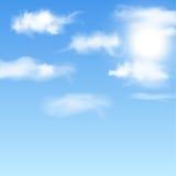 Blauwe hemel met wolken. Vector illustratie. Stock Afbeeldingen