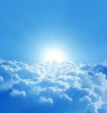 Blauwe hemel met zon Royalty-vrije Stock Foto