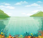 Blauwe hemel, onderwaterkoraalrif, overzees en eilanden royalty-vrije illustratie
