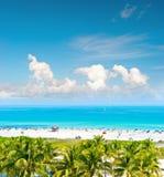 Blauwe hemel, turkoois water, palmen Het Strand van Miami, Oceaanaandrijving Royalty-vrije Stock Foto's