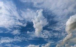 Blauwe hemelachtergrond met uiterst kleine wolken Royalty-vrije Stock Afbeeldingen