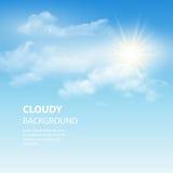 Blauwe hemelachtergrond met uiterst kleine wolken Vector stock illustratie