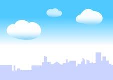 Blauwe hemelstad Stock Foto