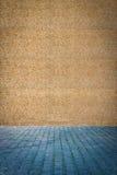 Blauwe het bedekken plakken dichtbij de muur van granulite Stock Foto's