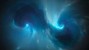 Blauwe het gloeien spiraalvormige bijzonderheden in ruimte vector illustratie