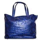 Blauwe het leer vrouwelijke zak van de luxe die op wit wordt geïsoleerds Royalty-vrije Stock Foto