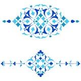 Blauwe het ontwerpreeks van ottomanemotieven van vierenvijftig ai Royalty-vrije Stock Afbeelding