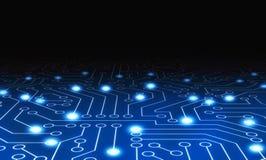 Blauwe het patroontextuur van de kringsraad High-tech achtergrond in digi stock illustratie
