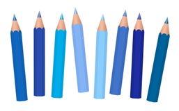 Blauwe het Potloodinzameling van de Kleurpotlodenkleur vector illustratie
