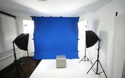 Blauwe het schermstudio stock foto's