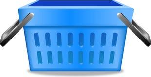 Blauwe het winkelen het pictogram vectorillustratie van het mand realistische beeld Stock Foto