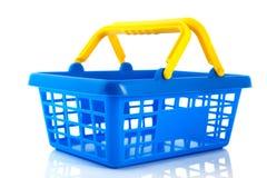 Blauwe het winkelen mand Royalty-vrije Stock Afbeeldingen