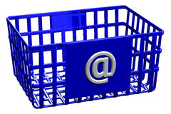 Blauwe het winkelen mand met teken @ Royalty-vrije Stock Foto
