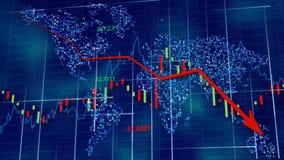 Blauwe hi-tech achtergrond - voorraaddiagrammen met dalende pijl stock foto